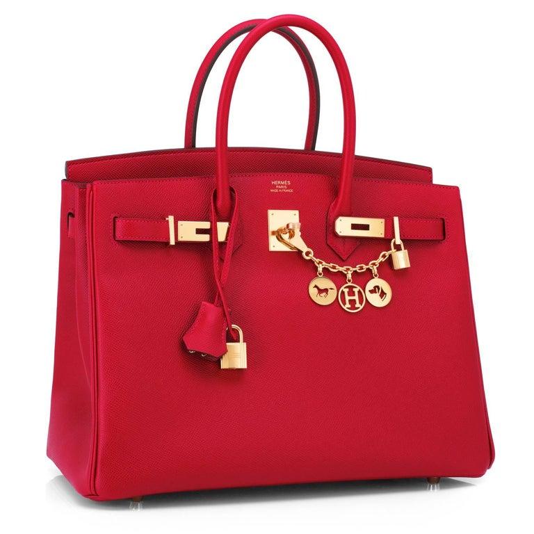 Women's or Men's Hermes Birkin 35cm Rouge Casaque Lipstick Red Epsom Bag Gold Hardware NEW