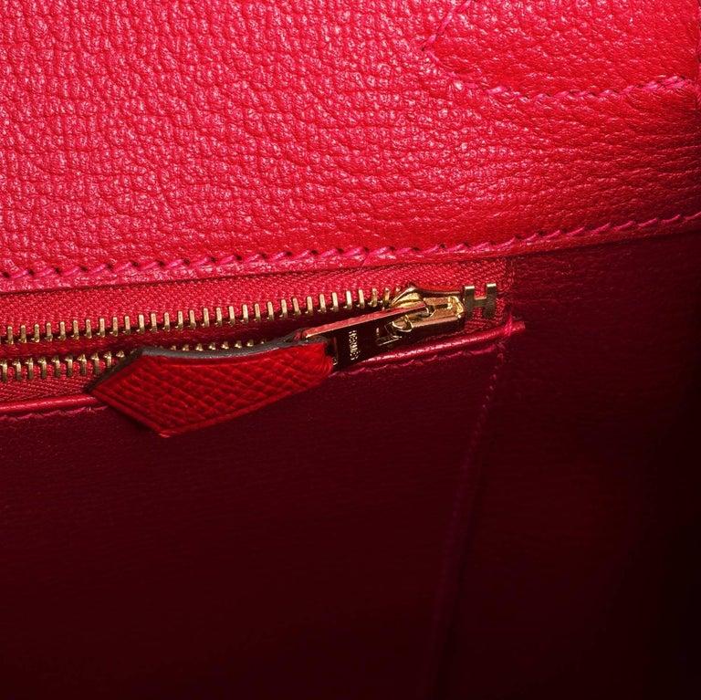 Hermes Birkin 35cm Rouge Casaque Lipstick Red Epsom Bag Gold Hardware NEW 5
