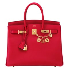 Hermes Birkin 35cm Rouge Casaque Lipstick Red Epsom Bag Gold Hardware NEW