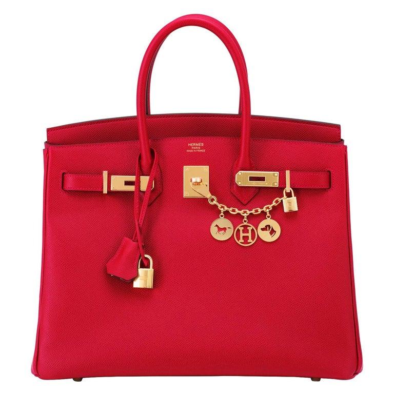 Hermes Birkin 35cm Rouge Casaque Lipstick Red Epsom Bag Gold Hardware NEW