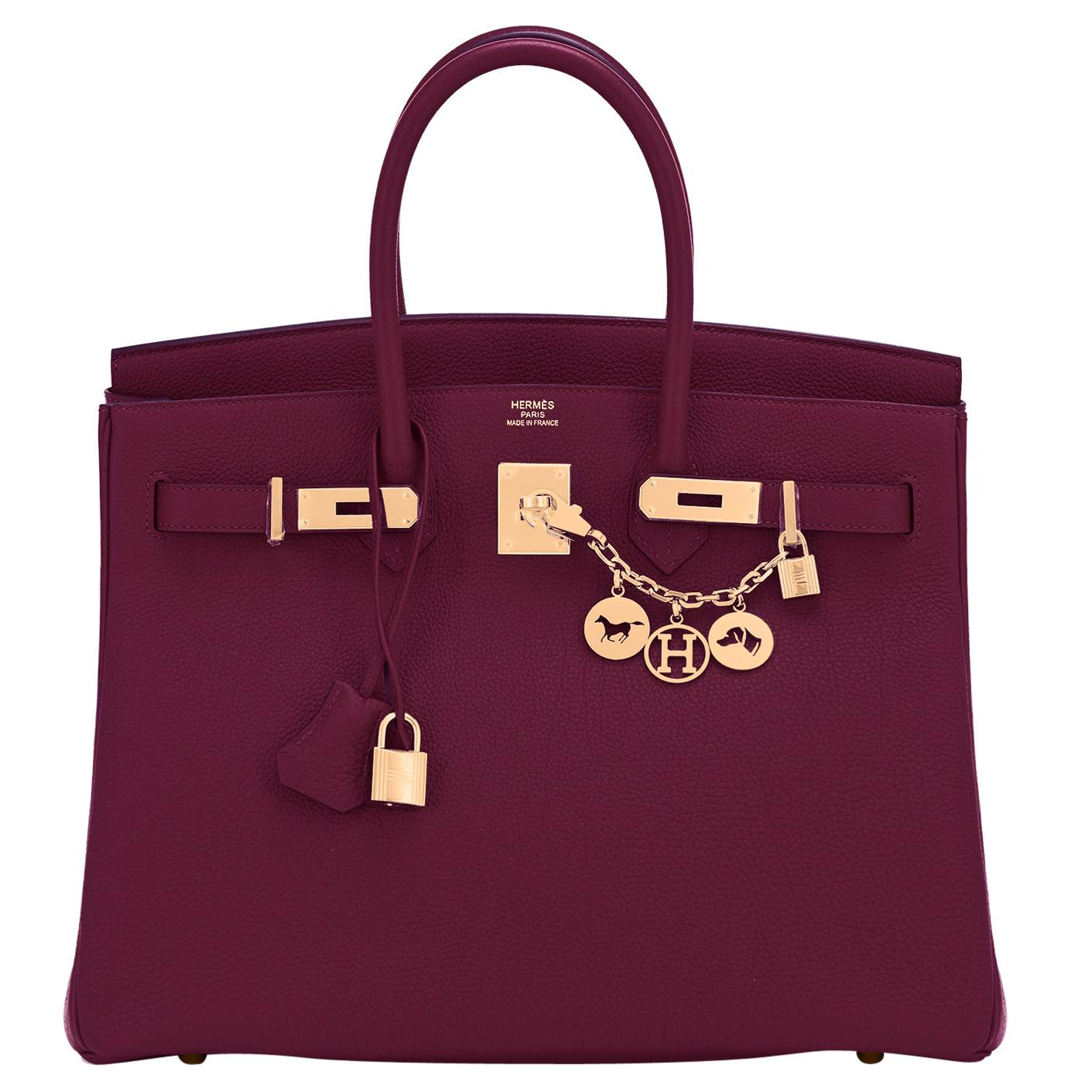 Hermes Birkin 35cm Rouge H Togo Deep Bordeaux Red Gold Birkin Bag Y Stamp, 2020
