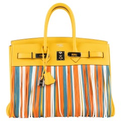 Hermes Birkin 35cm Soleil & Multicolor Fringe Swift Leather Palladium Hardware