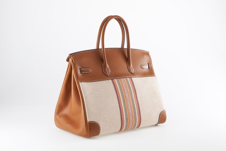 Hermes Birkin 35cm Toile Ganges and Barenia In Good Condition For Sale In Sheridan, WY