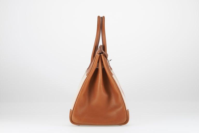 Women's or Men's Hermes Birkin 35cm Toile Ganges and Barenia For Sale