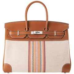 Hermes Birkin 35cm Toile Ganges and Barenia