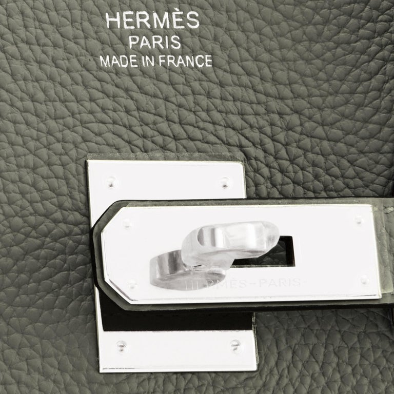 Hermes Birkin 35cm Vert de Gris Green Grey Togo Palladium Bag Y Stamp, 2020 For Sale 6