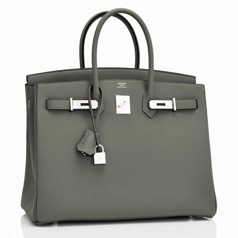 Hermes Birkin 35cm Vert de Gris Green Grey Togo Palladium Bag Y Stamp, 2020 Rare and gorgeous green-gray color perfect for fall! Brand New in Box. Store Fresh. Pristine Condition (with plastic on hardware).  Comes with lock, keys, clochette,