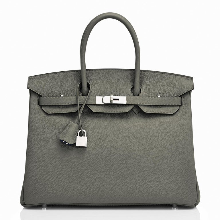 Gray Hermes Birkin 35cm Vert de Gris Green Grey Togo Palladium Bag Y Stamp, 2020 For Sale