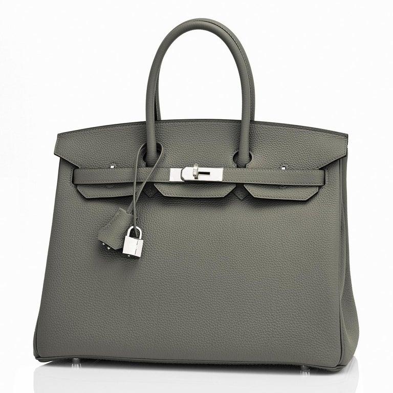 Hermes Birkin 35cm Vert de Gris Green Grey Togo Palladium Bag Y Stamp, 2020 In New Condition For Sale In New York, NY