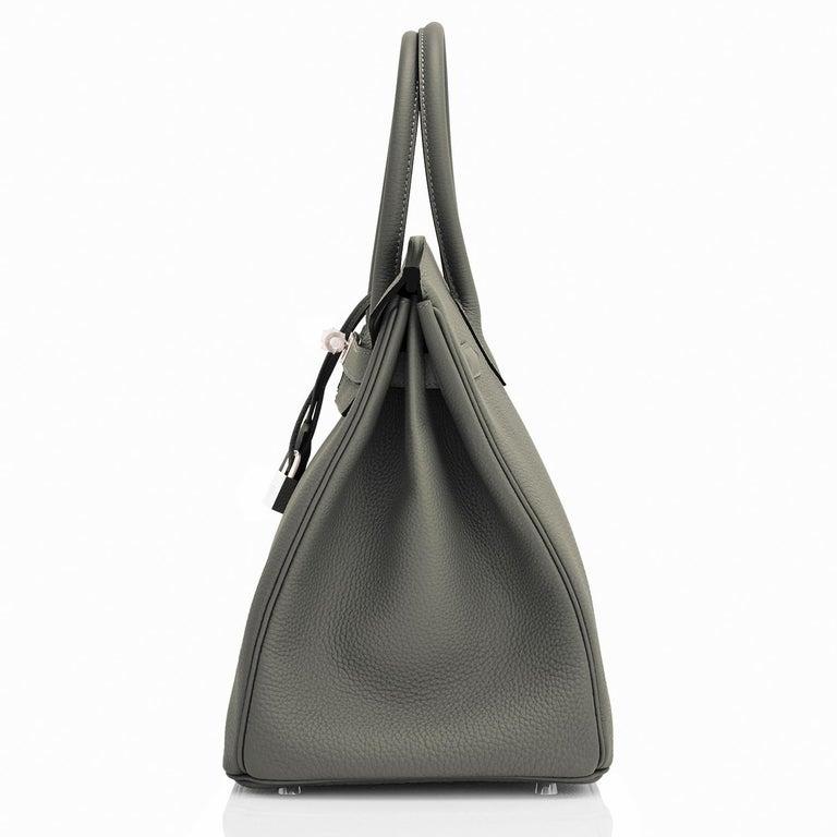 Women's or Men's Hermes Birkin 35cm Vert de Gris Green Grey Togo Palladium Bag Y Stamp, 2020 For Sale