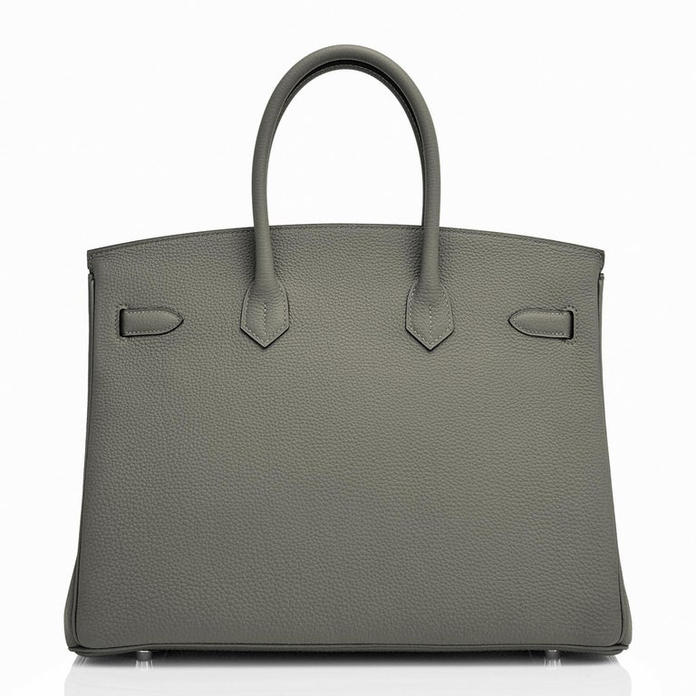 Hermes Birkin 35cm Vert de Gris Green Grey Togo Palladium Bag Y Stamp, 2020 For Sale 1