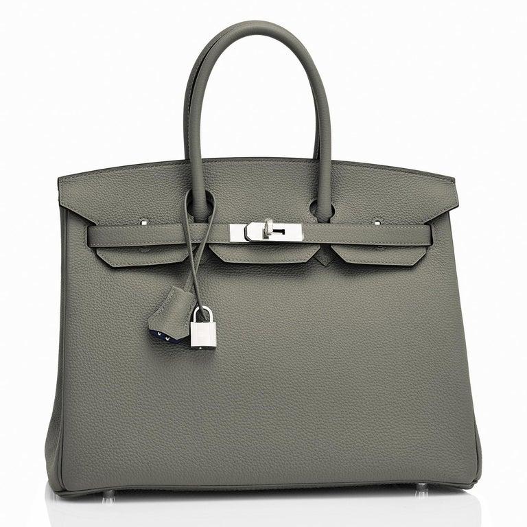 Hermes Birkin 35cm Vert de Gris Green Grey Togo Palladium Bag Y Stamp, 2020 For Sale 2