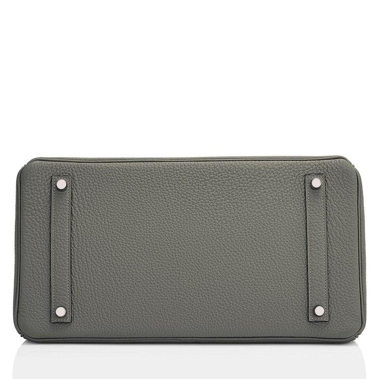 Hermes Birkin 35cm Vert de Gris Green Grey Togo Palladium Bag Y Stamp, 2020 For Sale 3