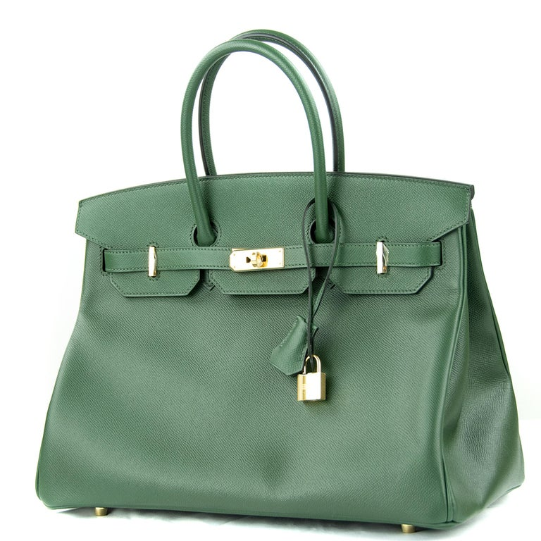 Gray Hermes Birkin 35cm Vert Fonce Epsom GHW For Sale