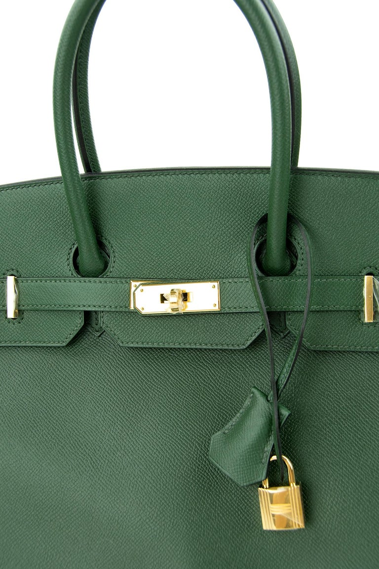 Women's or Men's Hermes Birkin 35cm Vert Fonce Epsom GHW For Sale
