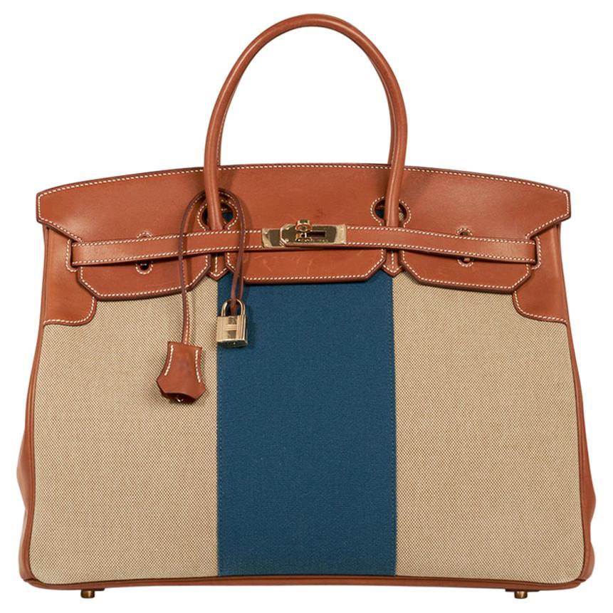 Hermes Birkin 40 Bag Blue Flag Toile / Barenia Leather Permabrass