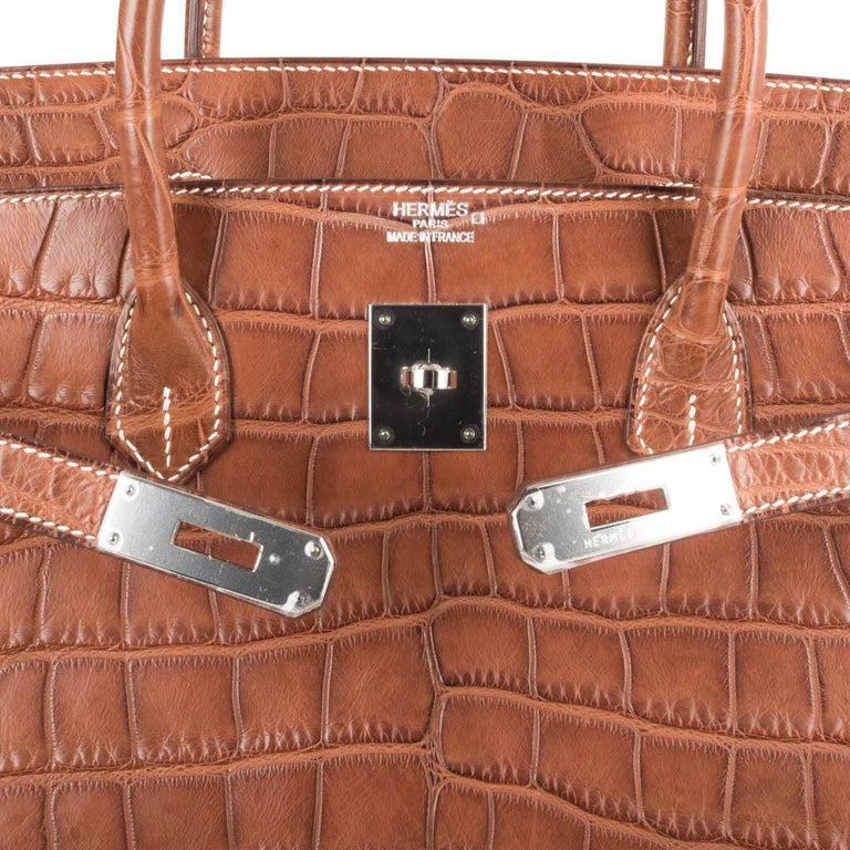Brown Hermes Birkin 40 Bag Matte Fauve Barenia Alligator Palladium For Sale