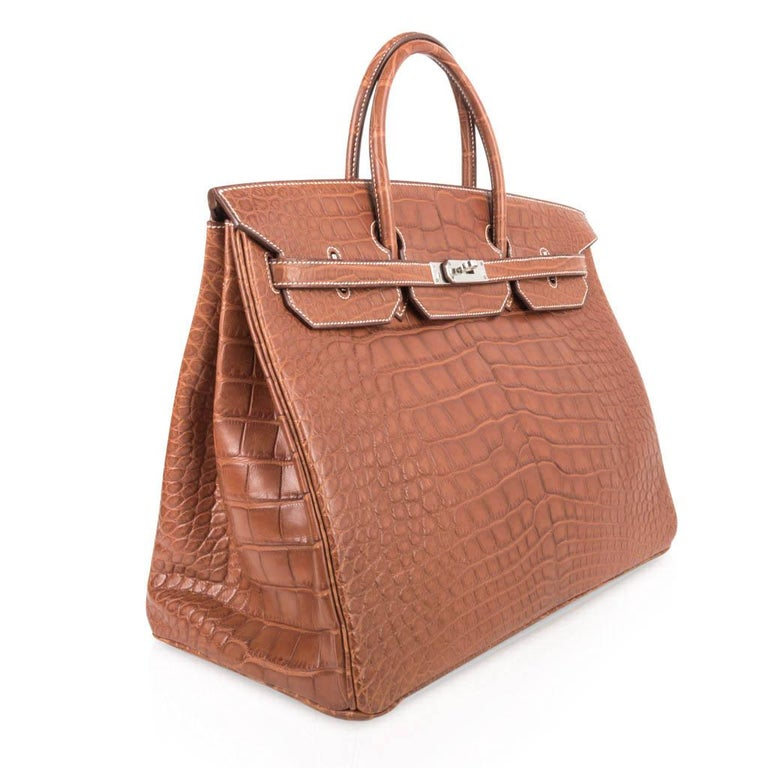 Hermes Birkin 40 Bag Matte Fauve Barenia Alligator Palladium In New Condition For Sale In Miami, FL