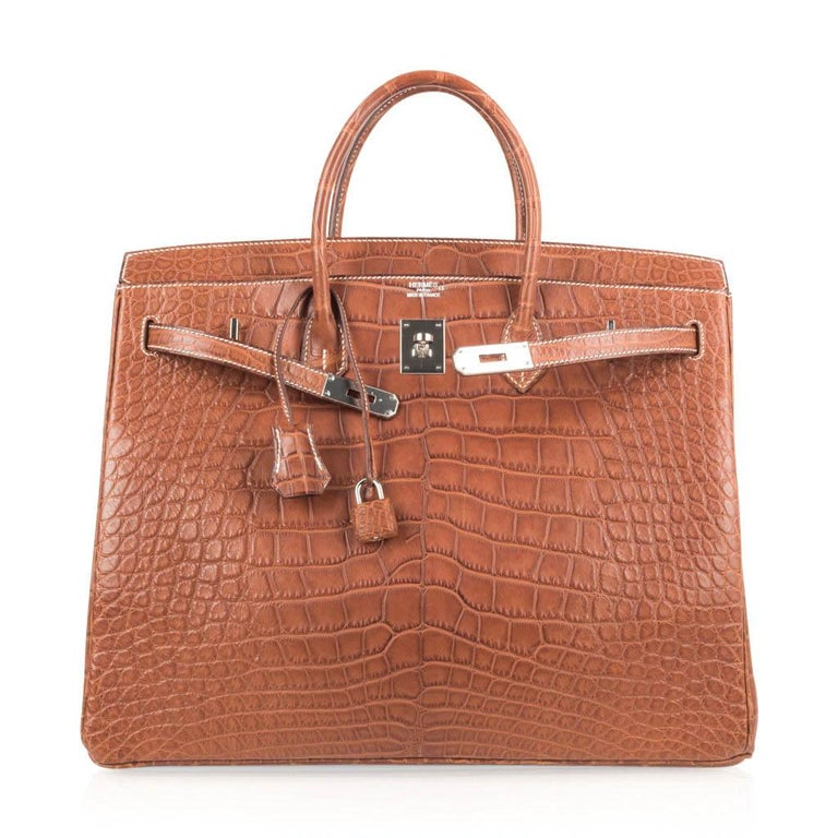 Hermes Birkin 40 Bag Matte Fauve Barenia Alligator Palladium For Sale 1