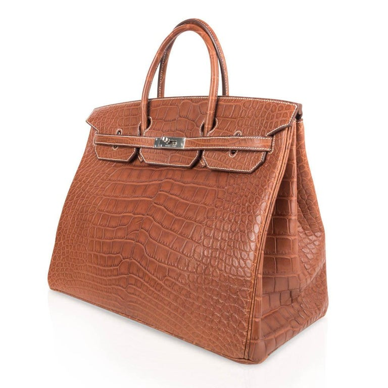Hermes Birkin 40 Bag Matte Fauve Barenia Alligator Palladium For Sale 2