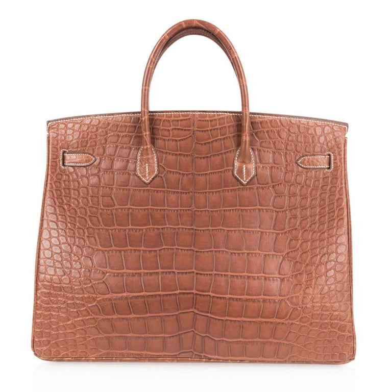 Hermes Birkin 40 Bag Matte Fauve Barenia Alligator Palladium For Sale 3