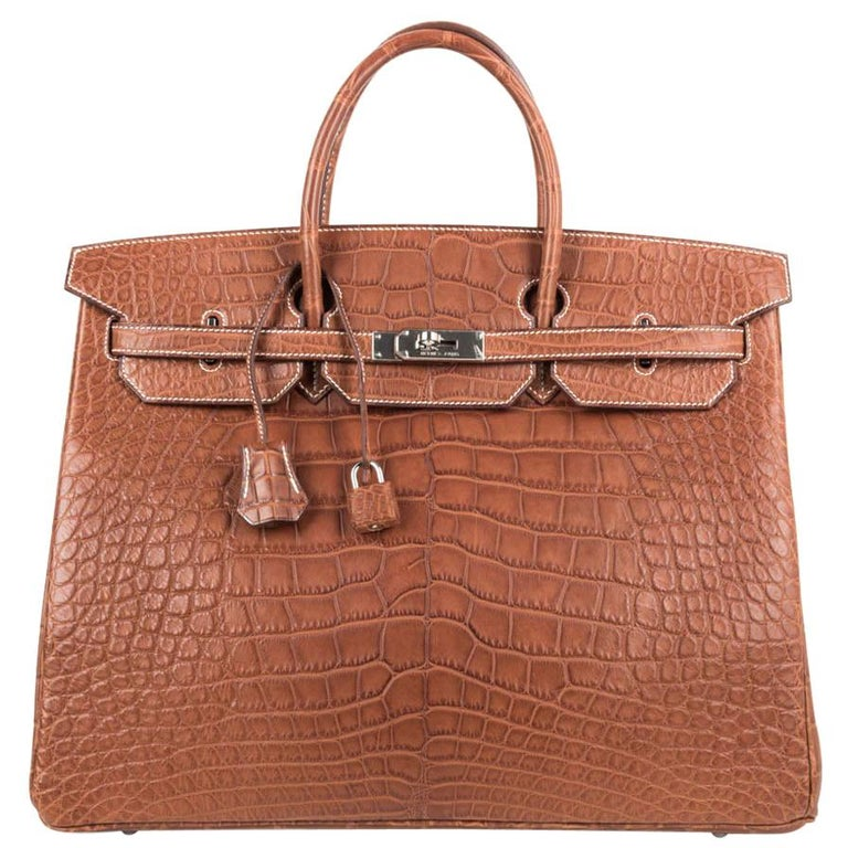 Hermes Birkin 40 Bag Matte Fauve Barenia Alligator Palladium For Sale