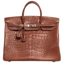 Hermes Birkin 40 Bag Matte Fauve Barenia Alligator Palladium