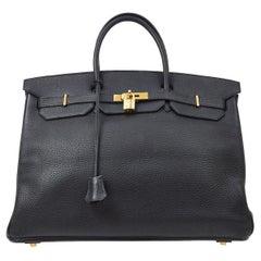 Hermes Birkin 40 Black Leather Gold Travel Carryall Men's Top Handle Tote