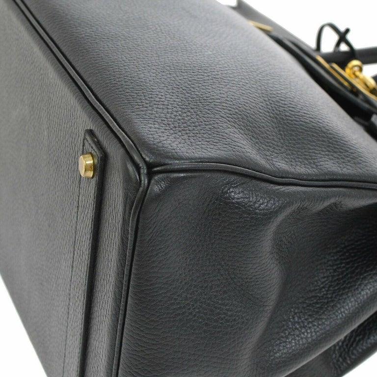 Women's Hermes Birkin 40 Black Leather Gold Travel Carryall Top Handle Satchel Tote