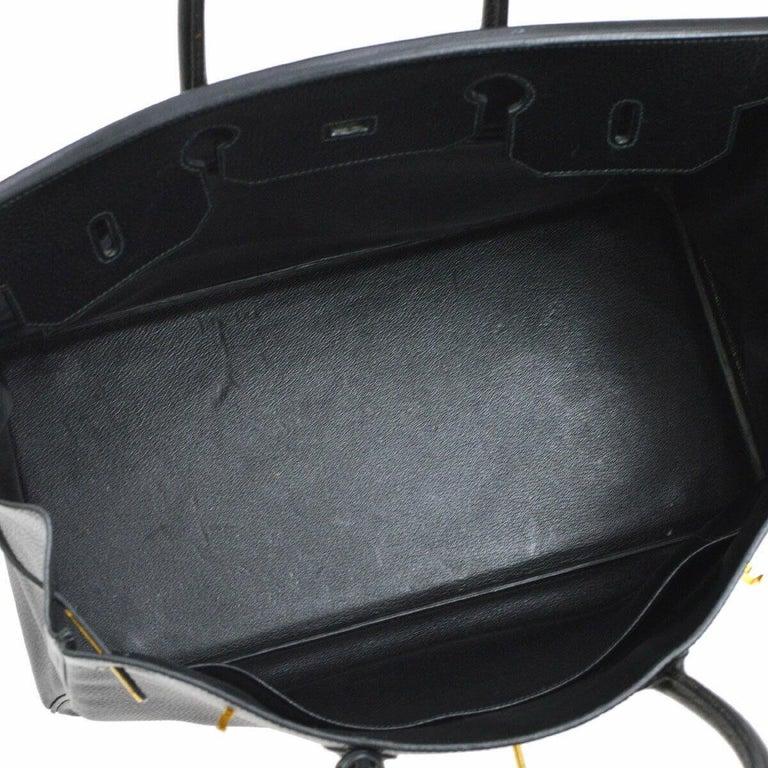 Hermes Birkin 40 Black Leather Gold Travel Carryall Top Handle Satchel Tote 1