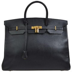 Hermes Birkin 40 Black Leather Gold Travel Carryall Top Handle Satchel Tote