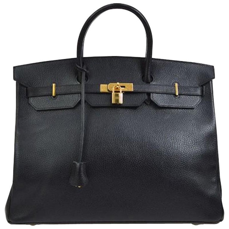 Hermes Birkin 40 Black Leather Gold Travel Carryall Top Handle Satchel Tote For Sale