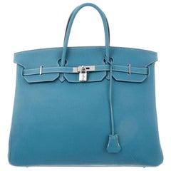 Hermes Birkin 40 Blue Leather Palladium Travel Carryall Men's Top Handle Tote