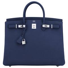 Hermes Birkin 40 Blue Nuit Navy Togo Birkin Bag Z Stamp, 2021 ULTRA RARE