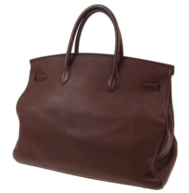 Hermes Birkin 40 Chocolate Brown Leather Travel Men's Top Handle Satchel Tote In Good Condition For Sale In Chicago, IL