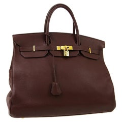 Hermes Birkin 40 Chocolate Brown Leather Travel Men's Top Handle Satchel Tote