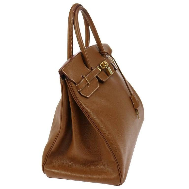Women's Hermes Birkin 40 Cognac Leather Gold Carryall Top Handle Satchel Tote in Box For Sale