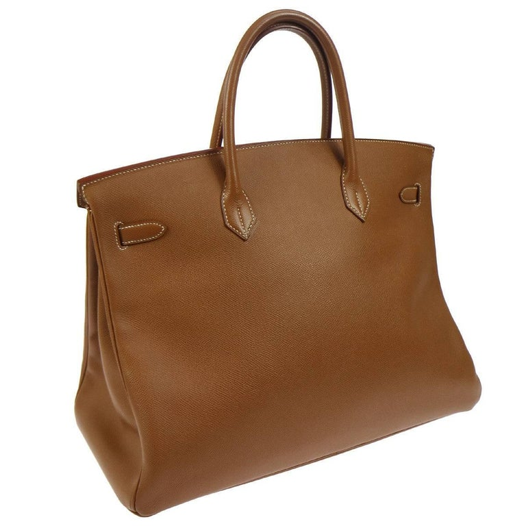 Hermes Birkin 40 Cognac Leather Gold Carryall Top Handle Satchel Tote in Box For Sale 1