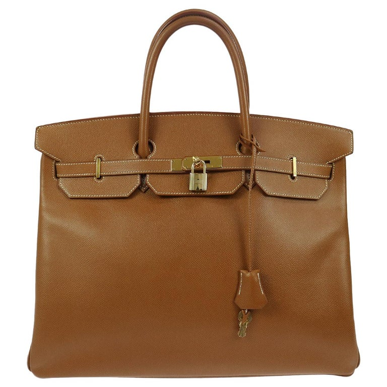 Hermes Birkin 40 Cognac Leather Gold Carryall Top Handle Satchel Tote in Box For Sale
