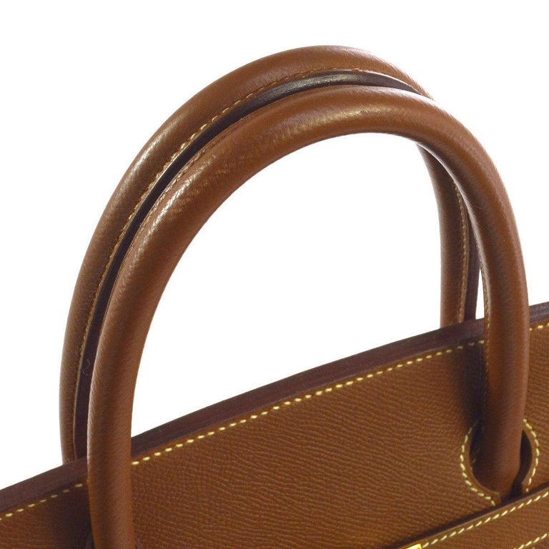 Hermes Birkin 40 Cognac Leather Gold Travel Carryall Top Handle Satchel Tote  Leather Gold tone hardware Leather lining Date code present Made in France Handle drop 4