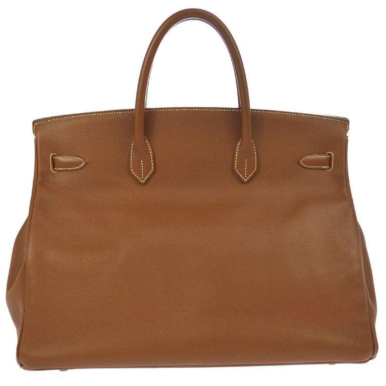 Brown Hermes Birkin 40 Cognac Leather Gold Travel Carryall Top Handle Satchel Tote