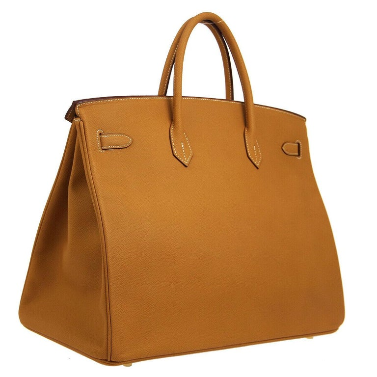 Hermes Birkin 40 Cognac Leather Gold Travel Carryall Top Handle Satchel Tote In Good Condition For Sale In Chicago, IL