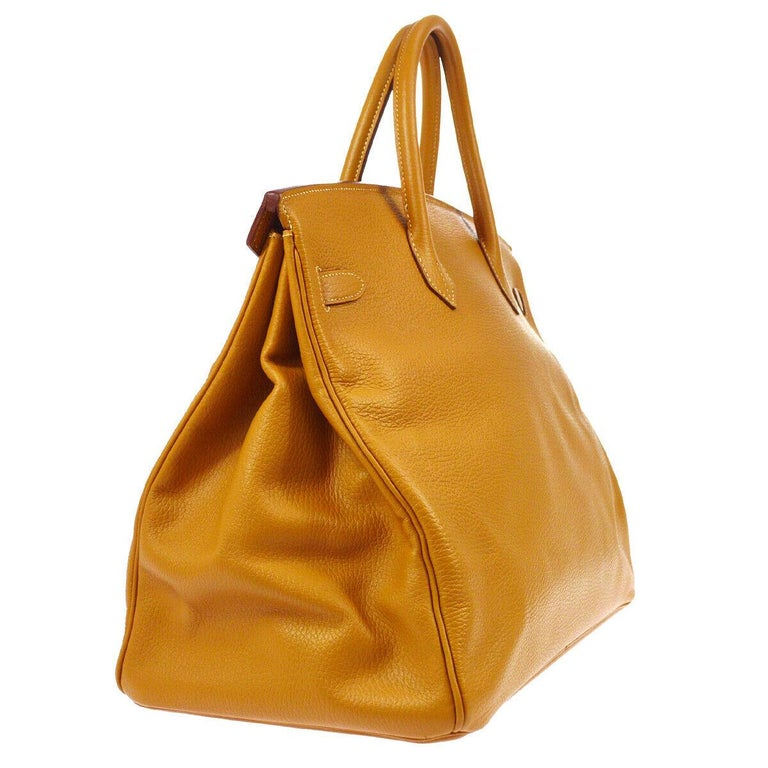 Women's Hermes Birkin 40 Cognac Leather Gold Travel Carryall Top Handle Satchel Tote