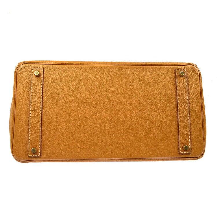 Hermes Birkin 40 Cognac Leather Gold Travel Carryall Top Handle Satchel Tote 2