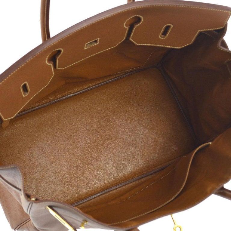 Hermes Birkin 40 Cognac Leather Gold Travel Carryall Top Handle Satchel Tote 1