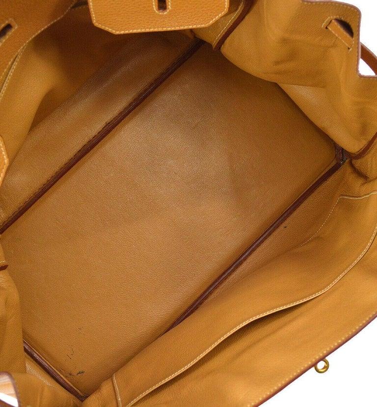 Hermes Birkin 40 Cognac Leather Gold Travel Carryall Top Handle Satchel Tote 3