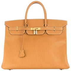 Hermes Birkin 40 Cognac Leather Gold Travel Carryall Top Handle Satchel Tote