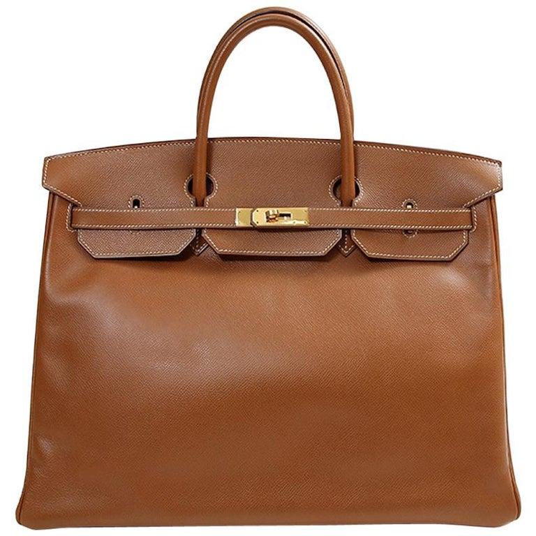 Hermes Birkin 40 Cognac Leather Gold Travel Carryall Top Handle Satchel Tote