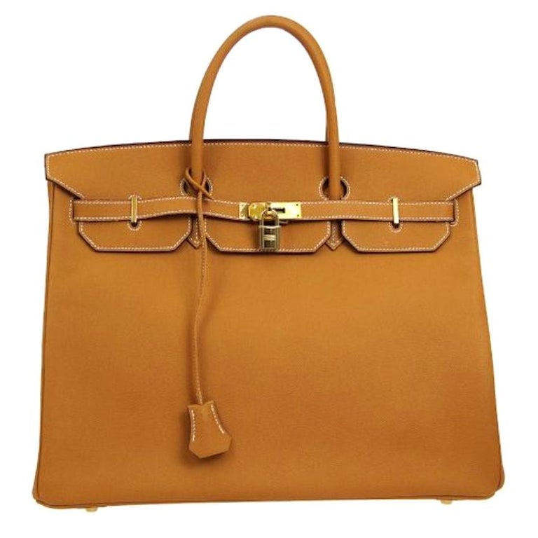 Hermes Birkin 40 Cognac Leather Gold Travel Carryall Top Handle Satchel Tote For Sale