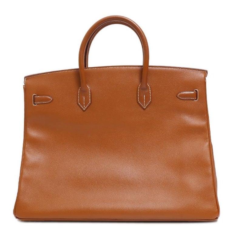 Women's Hermes Birkin 40 Cognac Leather Gold Travel Men's Top Handle Satchel Tote For Sale